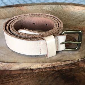 {Loft} Cream/Blush Genuine Leather Belt. Size S.